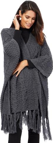 Dark Grey Cable Knit Wrap