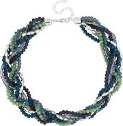 Green And Blue Beaded Twist Necklace