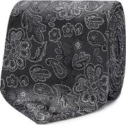 Grey Embroidered Floral Silk Tie