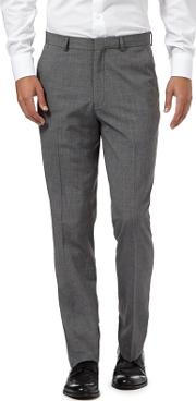 Grey Pindot Flat Front Trousers