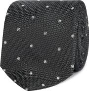 Grey Silk Polka Dot Tie