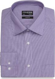 Lilac And White Striped Classic Fit Shirt