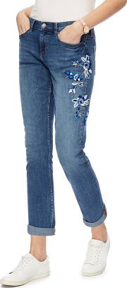 Mid Blue Floral Embroidered Girlfriend Jeans