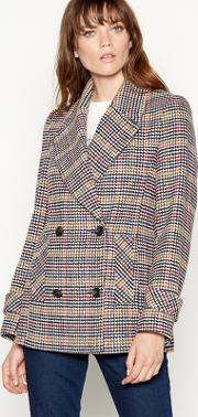 Multicoloured Check Print Peacoat