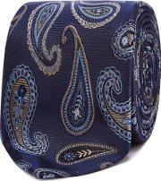 Navy Paisley Embroidered Silk Tie