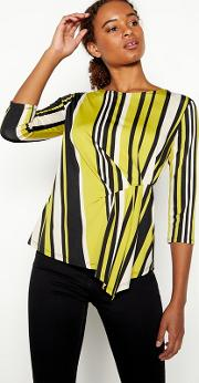 Olive Green Twist Front Stripe Jersey Top
