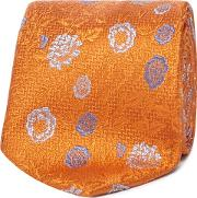 Orange Silk Floral Print Tie