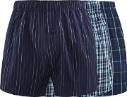 Pack Of Three Navy Checked And Striped Woven Boxer Shorts