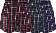 Pack Of Three Navy Grid Checked Boxers