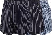 Pack Of Three Navy Striped And Checked Woven Boxers