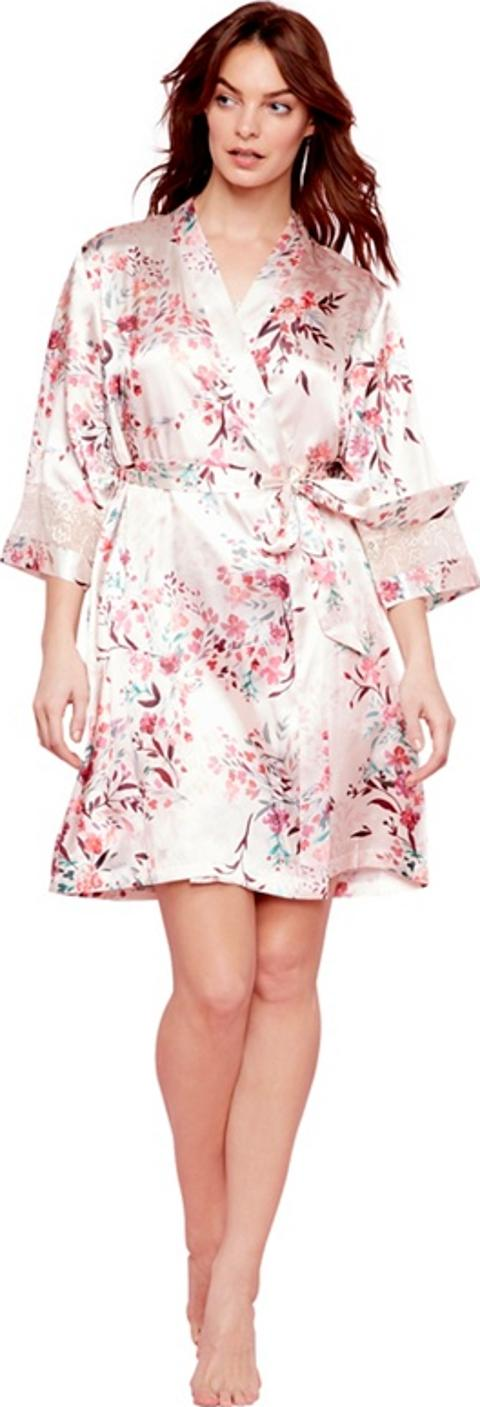 the collection Pale Pink Floral Print Satin eva Dressing Gown ...