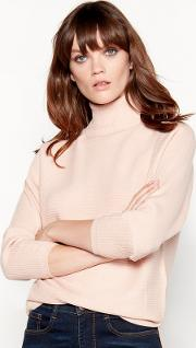 Pale Pink Roll Neck Ribbed Knit Jumper