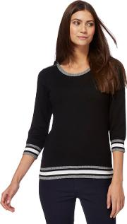 Black Zip Shoulder Petite Jumper