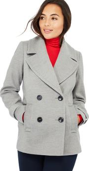Petite Light Grey Double Breasted Petite Peacoat