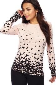 Light Pink Butterfly Print Petite Jumper