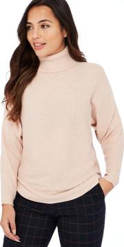 Petite Light Pink Ribbed Knit Roll Neck Long Sleeves Petite Jumper