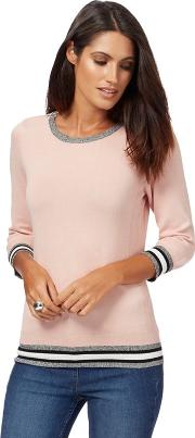 Light Pink Zipped Shoulder Jumper