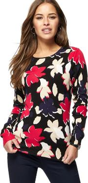 Multi Coloured Floral Print Petite Jumper