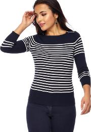 Navy Striped Zip Shoulder Petite Jumper