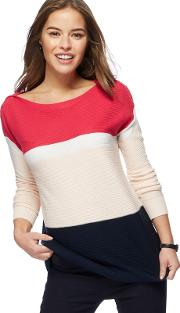 Pink Colour Block Jumper