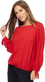 Red Petite Blouse