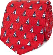 Red Boat Print Tie