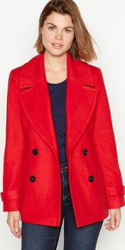 Red Double Breasted city Coat