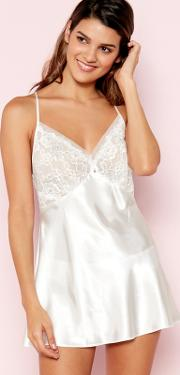 White Floral Lace Babydoll And Knickers Set
