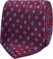 Wine Floral Embroidered Silk Tie