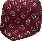 Wine Red Embroidered Paisley Silk Tie