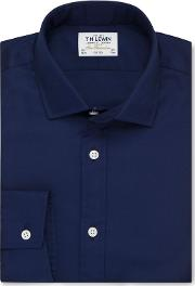 T.m.lewin Fitted Dark Navy Twill Button Cuff Short Sleeve Length Shirt