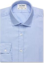 T.m.lewin Fitted Plain Blue Luxury Twill Button Cuff Short Sleeve Length Shirt