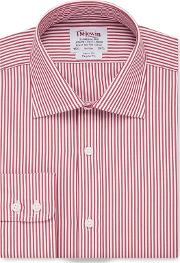 T.m.lewin Regular Fit Red Bengal Stripe Poplin Short Sleeve Length Shirt