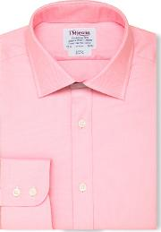T.m.lewin Slim Fit Pink Oxford Button Cuff Short Sleeve Length Shirt