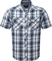 Faded Navy Check Oliver Tcz Cotton Shirt