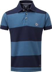 Faded Navy Collins Stripe Polo Shirt
