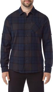 Navy Wallace Mens Flannel Check Shirt
