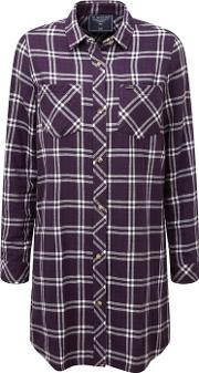 Plum Check Dalton Double Weave Long Shirt
