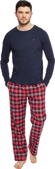Navy Top And Red Checked Bottoms Pyjama Set