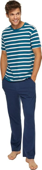 Turquoise Striped Top And Navy Bottoms Pyjama Set