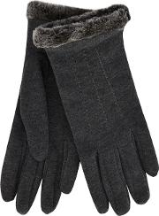 Isotoner Grey Faux Fur Thermal Gloves