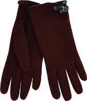 Isotoner Red Thermal Invisible Smart Touch Gloves With Bow