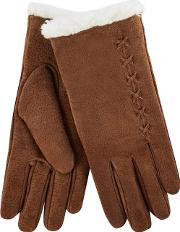Isotoner Tan Suede Gloves With Sherpa Cuff
