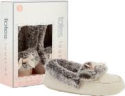 Natural Suedette Faux Fur Moccasin Slippers