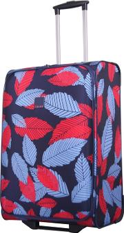Denim Blue Poppy leaf Medium 2 Wheel Suitcase