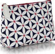 Navy Starflower Print Cosmetics Bag