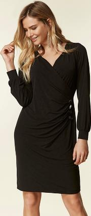 Black Button Side Wrap Dress