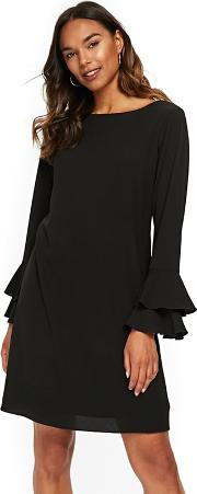 Black Double Flute Sleeve Shift Dress
