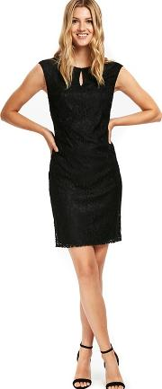 Black Geo Lace Shift Dress