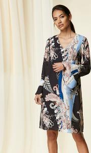Black Paisley Scarf Print Shift Dress